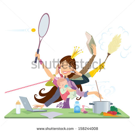 stock-vector-busy-mother-doing-simultaneously-many-tasks-cooking-cleaning-reading-working-and-talking-on-the-158244008